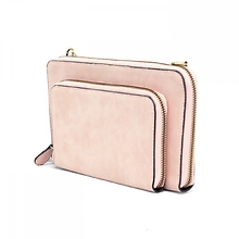 Brushed Mini Double Zip in Blush