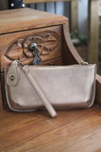 Crossbody Wristlet in Brushed Gold