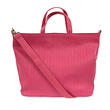 Woven Convertible Bag in Bold Pink